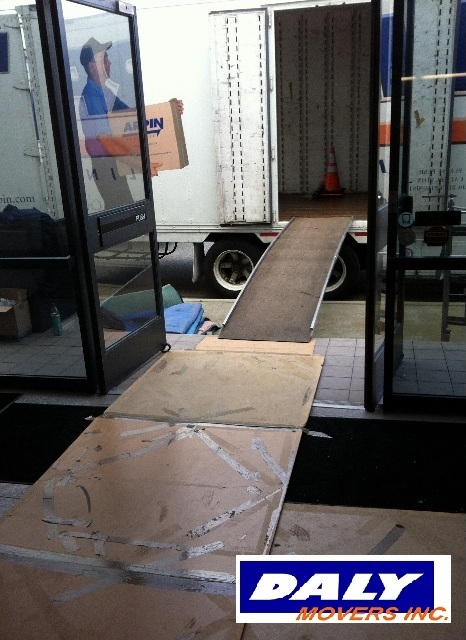 ramp from commercial office to moving truck