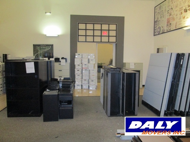 Commercial office space packed and ready to move