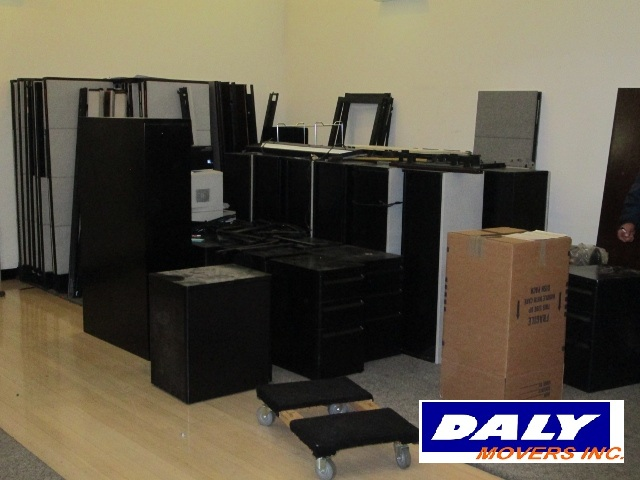 Commercial office space packed for moving