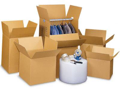 boxes, packing tape and other packing supplies
