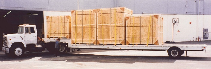 Crates loaded on truck bed