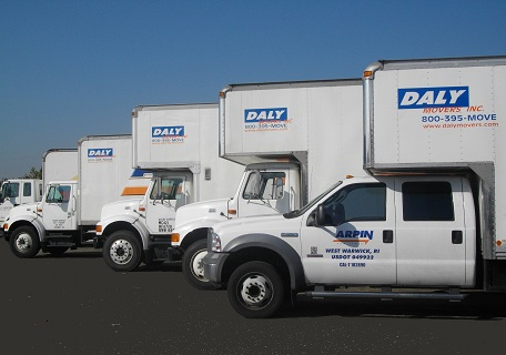 Fleet of Daly Moving trucks