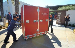 Daly Movers unload mummies at Bowers Museum