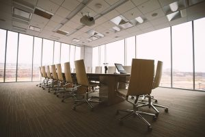 empty conference room beige with soft lighting